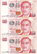 SINGAPORE $10 x 3 UNC Cons Nos paper notes / Rare PM Lee HL Signatory