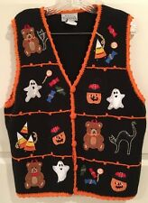 Halloween Sweater Vest L Black Multi Ghost Pumpkin V Neck Orange Crochet Trim