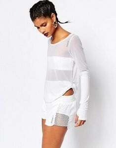 Reebok Long Sleeve T-Shirt Top In Sheer Mesh White Yoga