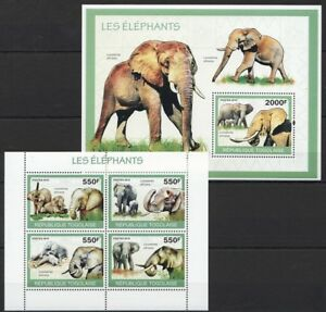 Togo 2010 MNH MS+SS, Elephants, Wild Animals