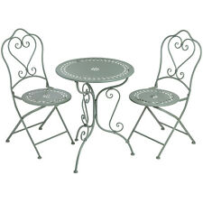 Duck Egg Blue Iron Compact Bistro Table and 2 Chairs Set Home Furniture