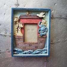 Noah's Ark 3D Blue Animal Boat Biblical Baby Gift Nursery Vintage Picture Frame