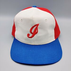 Indianapolis Indians Trucker Hat VTG Tri Colour New Era Snapback made in Taiwan