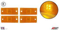 4x 24v 4 LED Lateral Marcador Ámbar Naranja Luces Remolque Furgoneta MARCA E