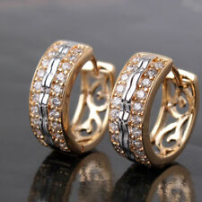 Multi gold tone white crystal zircon huggie hoop stud earrings jewelry+ gift box