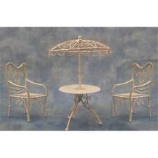 12A scala BIANCO ombrellone tavolo e 2 sedie per case di bambole, ecc. df574