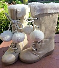NEW GYMBOREE ❤️Polar Beige/Gold Sparkle Zipper Boots Fur Trim Pom Pom Size 9-10