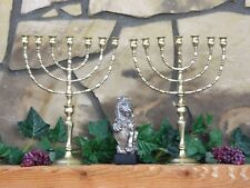 "Pair 17"" Solid Brass 7 Arm Temple Menorahs 7 Light Candelabra Synagogue Jewish"