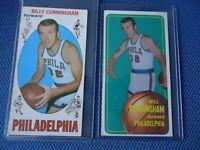 1969 BASEBALL BILLY CUNNINGHAM ROOKIE  & 2ND YEAR 1970 CARD PHILADELPHIA NICE