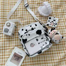 Cow Print Small Square Bag Canvas Crossbody Bag for Women Leisure Messenger Bag