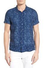 Scotch & Soda Paisley Short Sleeve Slim Fit Button Down Shirt, Size L,MSRP $115