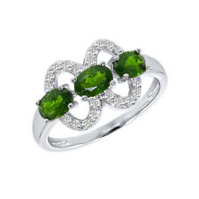 Russian Chrome Diopside & white Topaz Three Stones Sterling Silver Ring