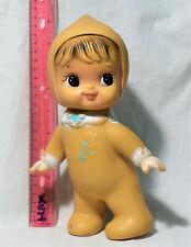 Iwai BABY GIRL RUBBER TOY DOLL KOREA big eyes BISERKA YELLOW TRICOT
