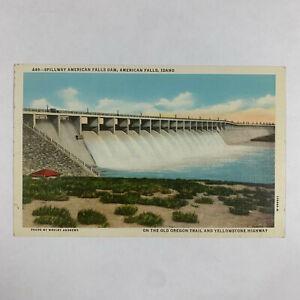 Vintage Postcard Idaho American Falls Dam Spillway Oregon Trail Yellowstone