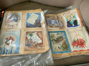 28 Pieces Vintage Scrap 1940's Scrap Book Pages Christmas Birthday Cards 11 x 14