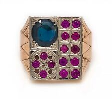 Vintage 14K Yellow Gold 3.3 Ct Natural Sapphire & Ruby Mens Signet Ring 13.7 Gr