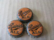 3 RAINIER ALE BEER CORK BOTTLE CAPS VINTAGE COLLECTIBLE  CAP CROWNS
