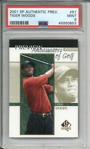 2001 SP Authentic Preview TIGER WOODS #51 Rookie PSA 9 MINT Golf RC Card