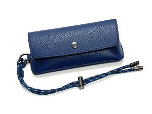 COACH Sunglasses Eyeglasses Case Blue Pebble Leather with Keyring Drawstring