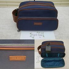 Ted Baker London Mens Navy Tan Canvas Toiletry Wash Bag 2017 Christmas Gift