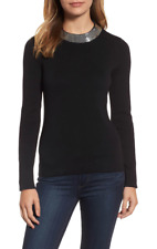 Michael Kors Womens Black Sequin Collar Sweater Sz L 5814