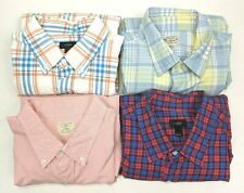 J Crew Checker and Plaid Long Sleeve Button Down Shirts Men's Size Large Lot 4