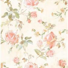 Wallpaper Designer Pink Peach White Gold Teal Green Rose Trail on Cream Faux
