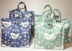Handmade Oilcloth 100% Cotton Bags, Narvik (Birds) Denim, Nikki's Original Totes