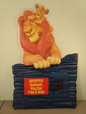 Rare 1994 Burger King Lion King Sign