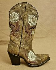 Charlie 1 Horse Lucchese Women Brown Floral Leather Western Boots Shoes Sz 7.5 B