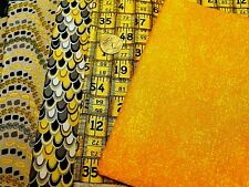 Fabric Traditions Measuring Tape & Other Yellow & Black Cotton Quilt Fabric