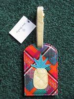 New ~ NWT ~ Vera Bradley ~ Pineapple Luggage Tag ~ Rhumba Grid ~ Sold Out