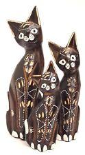 Gatos Juego de 3 Madera cat Set Decoración Animales Figura 25cm 20 CM 15