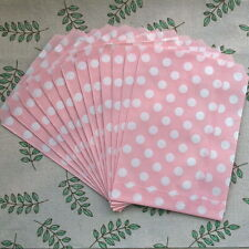 50pcs Paper Bag Pink Polka Dots Pattern For Biscuit Birthday Party Decoration