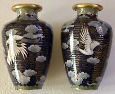 Vintage Handmade People's Republic China Cloisonné Enamel Small Vase Pair Boxed