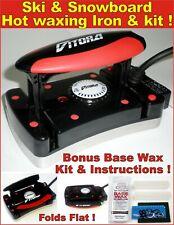 Ski-Snowboard Vitora Flat Folding Hot Waxing Iron + Base All Temp Wax Kit&Guide
