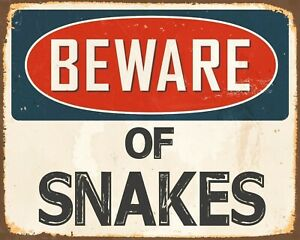 BEWARE OF SNAKES ADDER COBRA REPTILE SERPENT METAL PLAQUE TIN WALL SIGN 2024