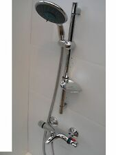 THERMOSTATIC WALL BATH SHOWER MIXER TAPS, LARGE HANDHELD, RAIL & HOSE, 092/351