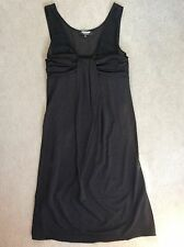 BLACK SLEEVELESS EVENING DRESS WITH SHEER SHOULDERS & DRAPED BETWEEN BUST - 38