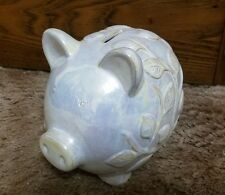 Urban Trends Collection - Pearl Ceramic Piggy Bank with Ivy Finish