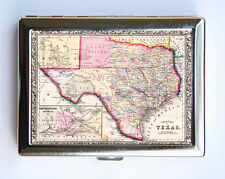 Texas Map Cigarette Case Wallet Business Card Holder id case atlas map Austin