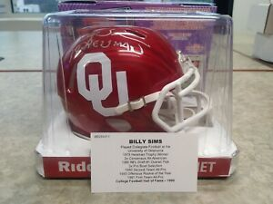 Billy Sims Signed Auto Oklahoma Sooners Mini Helmet Tristar 78 Heisman SPEED