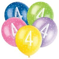 "5 X AGE 4 HELIUM QUALITY 12"" LATEX BALLOONS PARTY DECORATION MIXED 4th BIRTHDAY"