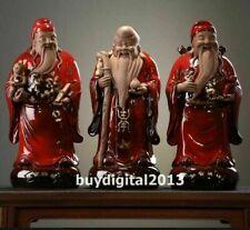 China Purple sand pottery Three Lucky Men Fukurokuju blessing old man sculpture