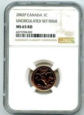 2002 P CANADA CENT NGC MS65 RD UNCIRCULATED SET ISSUE COIN POP=1 RARE