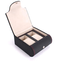 AXIS® Black Leather watch travel storage case for 2 watches