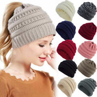 Womens Beanie Tail Messy Bun Hat Ponytail Stretchy Knitted Crochet Skull Cap yu