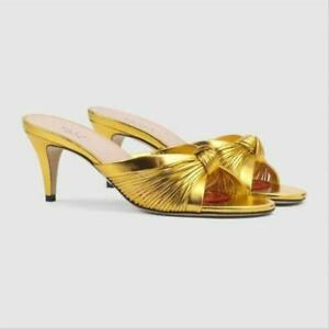 NIB GUCCI Crawford gold leather knotted sandals slides IT 38.5; Rtl $890
