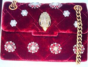 Kurt Geiger Mini Kensington Red Burgundy Velvet Embellished  Bag - BNWT
