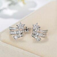 Fashion Star Women 925 Silver Stud Earrings Jewelry Free Shipping A Pair/set